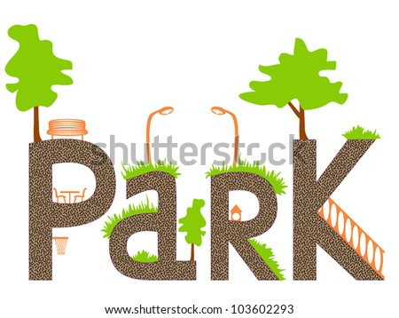 """Vector inscription """"Park"""" stylized as tracks and recreation objects on them. No mesh end transparency used, fill expanded, objects grouped and named in English, letters are authentic. - stock vector"""
