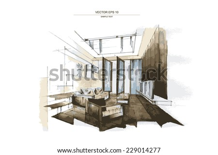 "Vector interior sketch design of ""Living Room"". Watercolor sketching idea on white paper background. - stock vector"