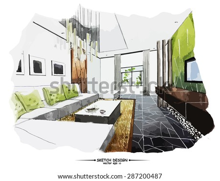 Vector interior sketch design. Watercolor sketching idea on white paper background. - stock vector
