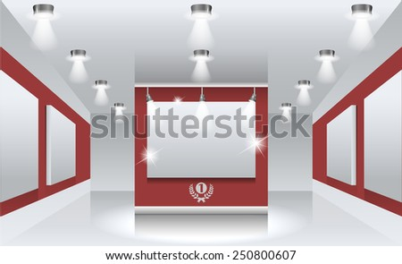 Vector interiors. Exhibition hall with white frames on the wall, illuminated by floodlights. - stock vector
