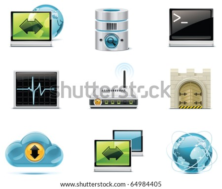 Vector internet and network icons. Part 1 - stock vector