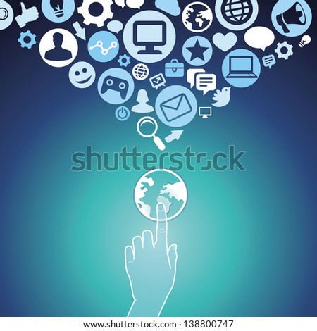 Vector internet concept - hand touching globe icon and social media signs - stock vector