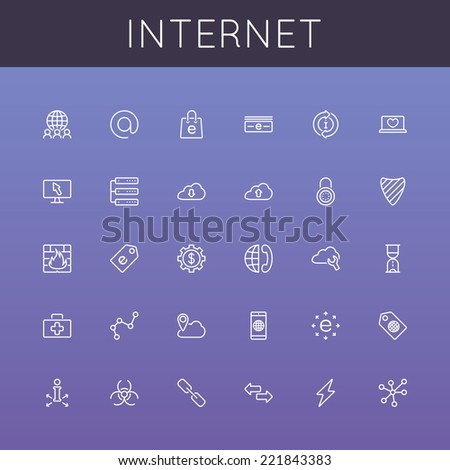 Vector Internet Line Icons - stock vector