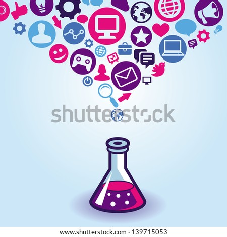 Vector internet marketing concept - sign and icons - stock vector