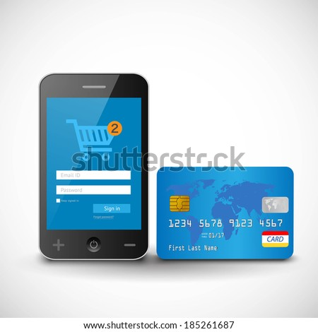 vector internet shopping with smart phone and credit card - stock vector