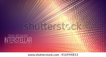Vector interstellar space background.Cosmic galaxy illustration.Background with nebula, stardust and bright shining stars.Vector Illustration for party flyers,artwork, brochures, posters. - stock vector