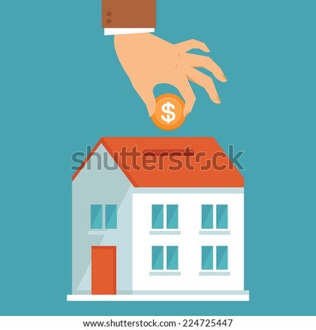 Vector investment concept in flat style - businessman's hand putting coin inside the house - real estate investment - stock vector