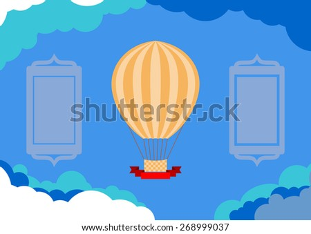 Vector Invitation Card with Hot air Balloon, Ribbon Object and Cloud Background. Plenty Text Space. - stock vector