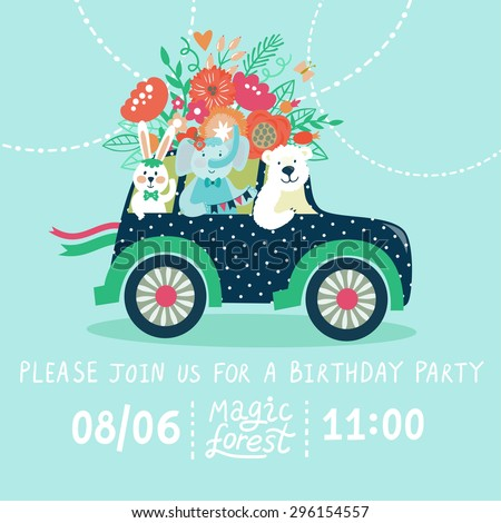 "Vector invitation card with retro car, polar bear, elephant, rabbit and big beautiful bouquet. Invitation template with funny cartoon character and text ""Please join us for a birthday party"" - stock vector"