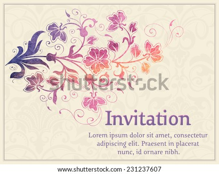 Vector invitation card with watercolor damask element. Arabesque style design.  - stock vector