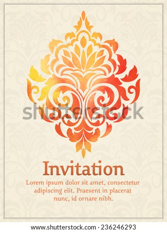 Vector invitation card with watercolor damask element on the light damask background. Arabesque style design. Elegant invitation or gift card. - stock vector