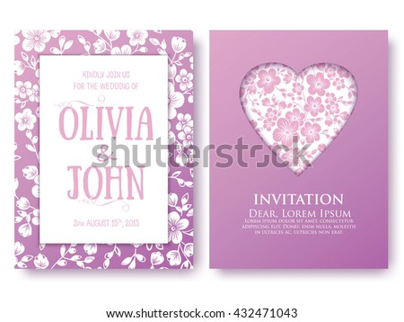 Vector invitation  or wedding, cards with floral elements. Elegant floral abstract ornaments. Front and back side of card. Design element. Business cards. eps10 - stock vector