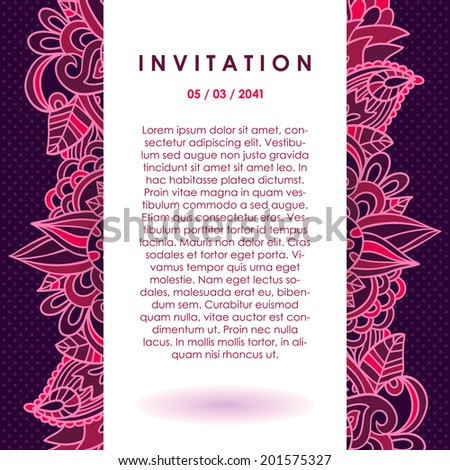 Vector invitation with purple ornament on the dark violet doted background. Template card with hand drawing elements. - stock vector