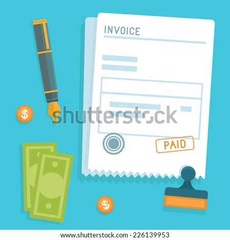 Vector invoice concept in flat style - bill icon with stamp paid - stock vector