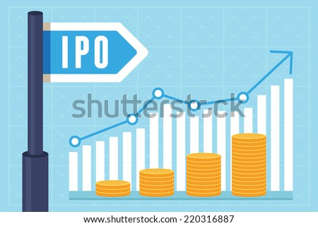 Vector IPO (initial public offering) concept in flat style - investment and strategy icons - stock vector