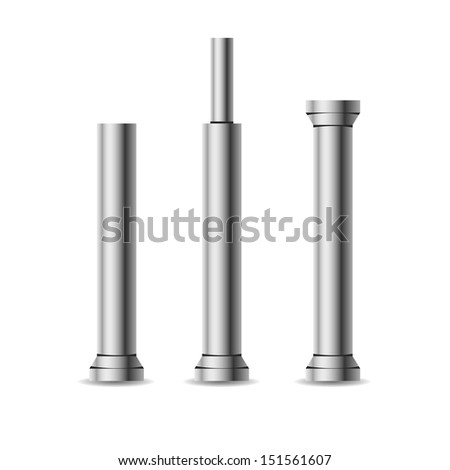 Vector iron columns isolated on white - stock vector