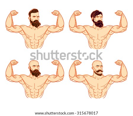 Vector iron man or very strong muscle man, illustration for fitness or gym club - stock vector