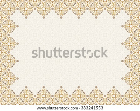 Vector islam pattern border frame. Seamless pattern arabic ornament. Vintage oriental elements design in Victorian style. Ornamental luxury background. Ornate floral decor wallpaper. Seamless texture - stock vector