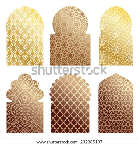 vector islamic window shapes - stock vector