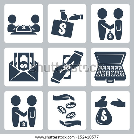 Vector isolated bribe/bargain icons set - stock vector