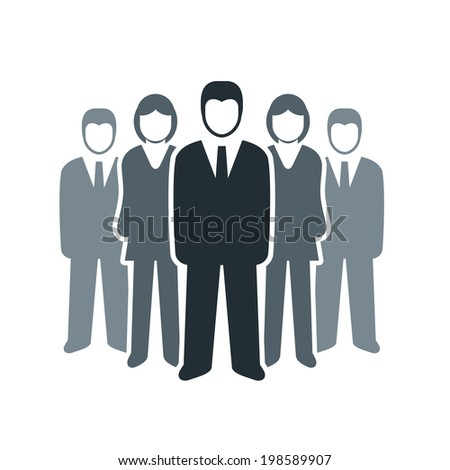 Vector isolated business people icon. Team work concept. - stock vector