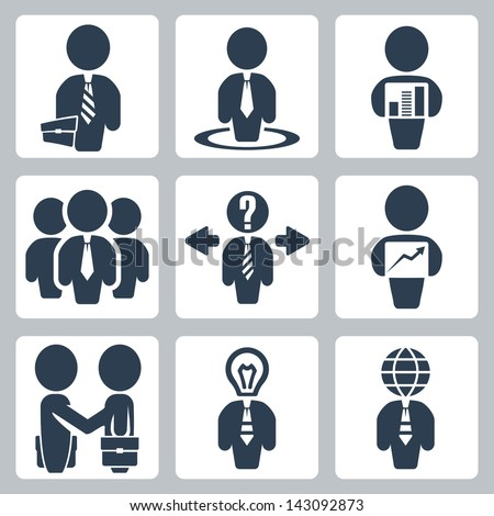 Vector isolated businessman icons set - stock vector