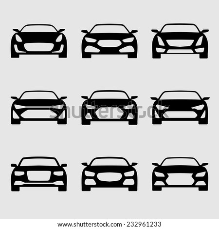 Vector isolated car icons set - stock vector