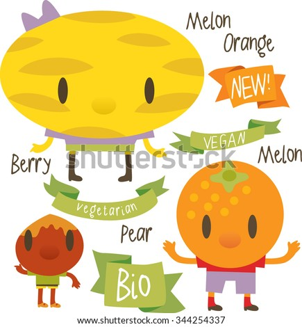 vector isolated cartoon comic amusing collection of fruits and vegetables for books, apps, labels, stickers: melon, orange, nut - stock vector