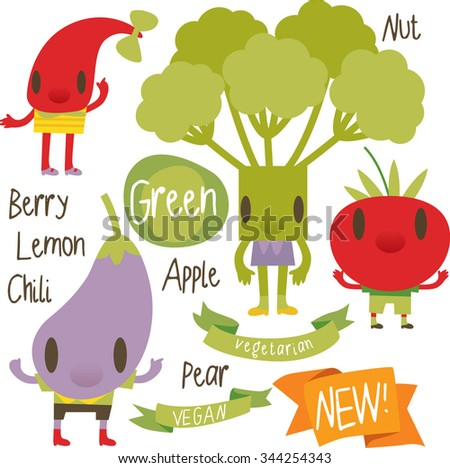 vector isolated cartoon comic amusing collection of fruits and vegetables for books, apps, labels, stickers: chili, broccoli, tomato, eggplant - stock vector