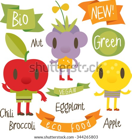 vector isolated cartoon comic amusing collection of fruits and vegetables for books, apps, labels, stickers: lemon, apple, blackberry - stock vector
