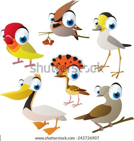 vector isolated cartoon cute animals set: birds: lovebird, waxwing, plover, pelican, dove, flycatcher - stock vector