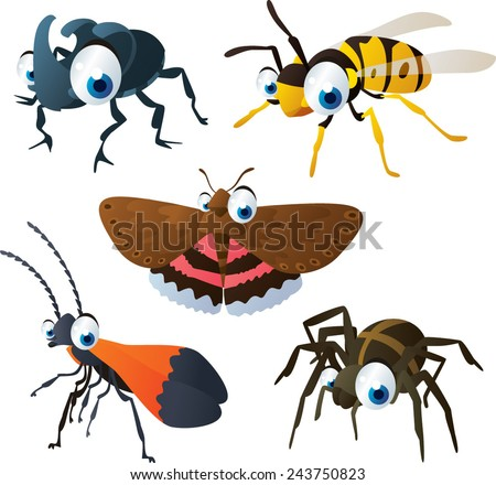 vector isolated cartoon cute animals set: rhinoceros beetle, wasp, underwing, spider, netwing - stock vector