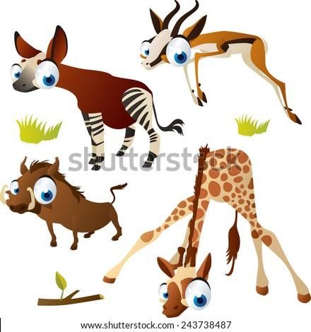 vector isolated cartoon cute animals set: safari ungulates: okapi, springbok, giraffe, warthog - stock vector