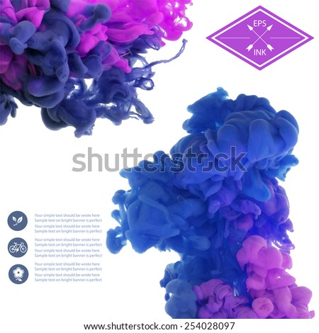 Vector isolated clouds of ink on white. Splashes of paint. Texture of ink, paint in water - stock vector