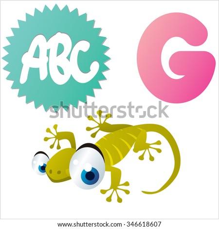 vector isolated comic cartoon animals alphabet: G is for Gecko - stock vector