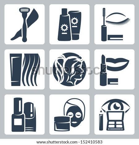 Vector isolated cosmetology icons set - stock vector
