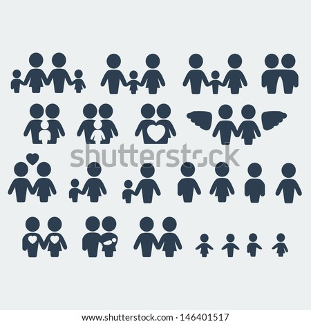 Vector isolated family icons set - stock vector