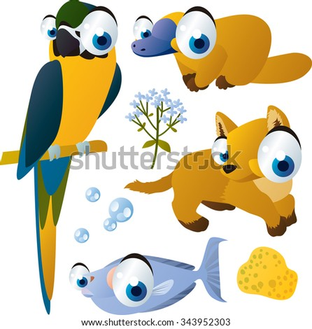 vector isolated flat animals collection set: australian animals: macaw, platypus, dingo, fish - stock vector