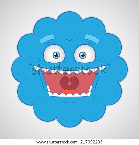 Vector. Isolated funny cartoon monster head. Closeup. - stock vector