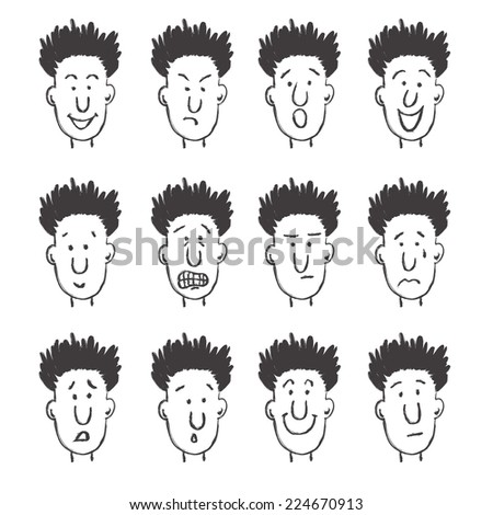 Vector isolated hand drawn set of twelve facial expressions - stock vector