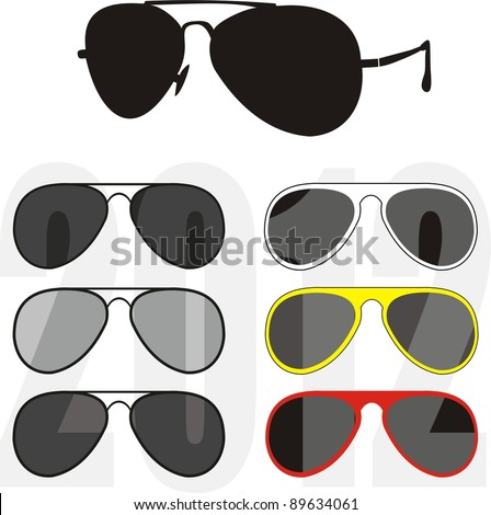 """Vector isolated illustration - collection fashionable classical (""""police"""", """"pilot"""") and sport glasses, white and black frames, UV - protection of lenses. Trend 2012. White background - stock vector"""