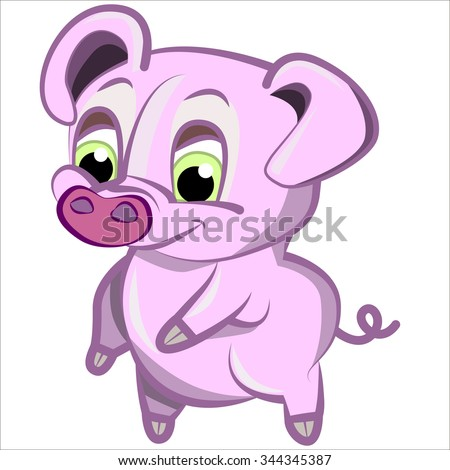 Vector isolated illustration, cute cartoon of funny pink pig - stock vector