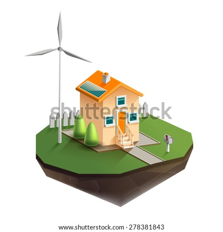 Vector isolated illustration of environmentally friendly house in isometric view with wind generator in the courtyard and solar panels on the roof, fence in the backyard, and a mailbox beside the road - stock vector