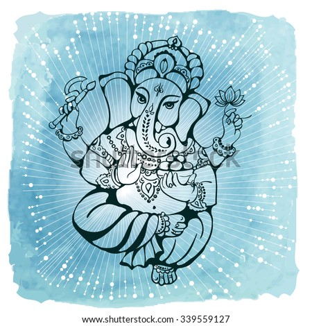 vector isolated image of Hindu God Ganesh  on white background. Ganesh Chaturthi. It is used for postcards, prints, textiles, tattoo. - stock vector