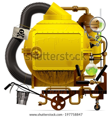 Vector isolated image of the complex fantastic machine with yellow round boiler, crimped pipe, chemical flask, sign, bucket, lens, equipment and armament - stock vector