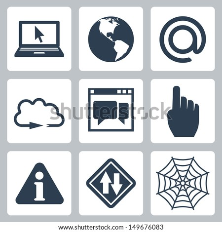 Vector isolated internet-related icons set - stock vector