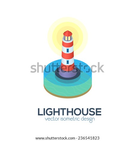 Vector isolated isometric lighthouse icon - stock vector