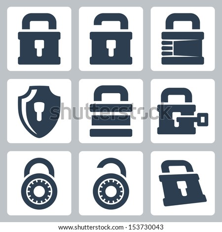 Vector isolated lock icons set - stock vector