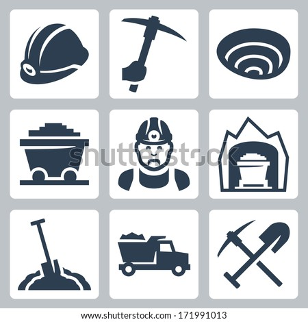 Vector isolated mining icons set - stock vector