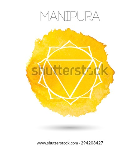 Vector isolated on white background illustration of one of the seven chakras - Manipura, the symbol of Hinduism, Buddhism. Watercolor hand painted texture. For design, associated with yoga and India. - stock vector